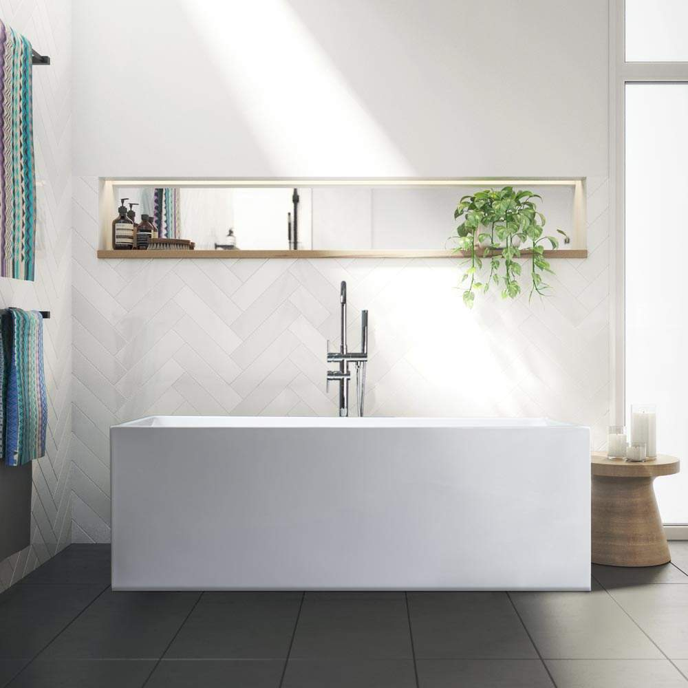 Freestanding rechthoekig badkuip Klassiek Design in hars Eubea