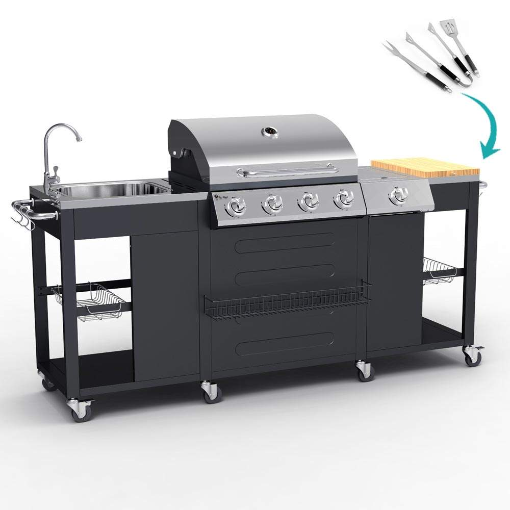 Barbecue BBQ Professioneel Gas Roestvrij Staal 4+1 Branders