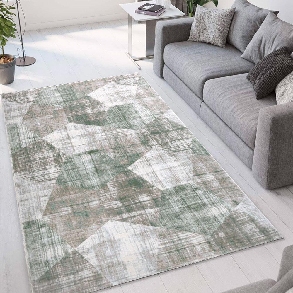 Ver003 Modern Huiskamertapijt Geometrisch Design Double Grijsgroen