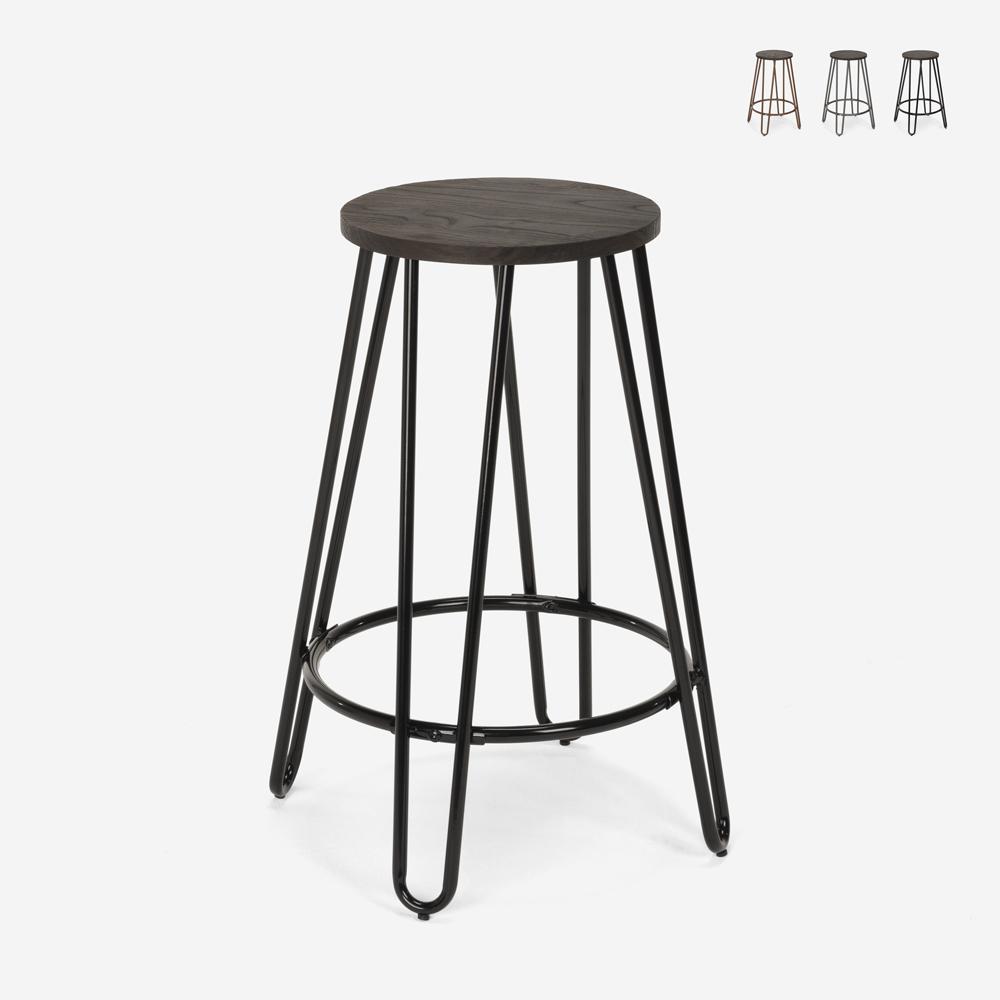 Hoge kruk industrieel ontwerp van metaal en hout voor bars restaurants keukens CARBON TOP