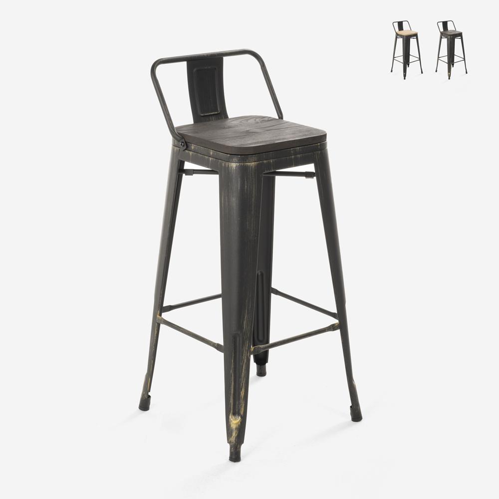 Industrieel design krukje van metaal en hout vintage stijl tolix BRUSH TOP