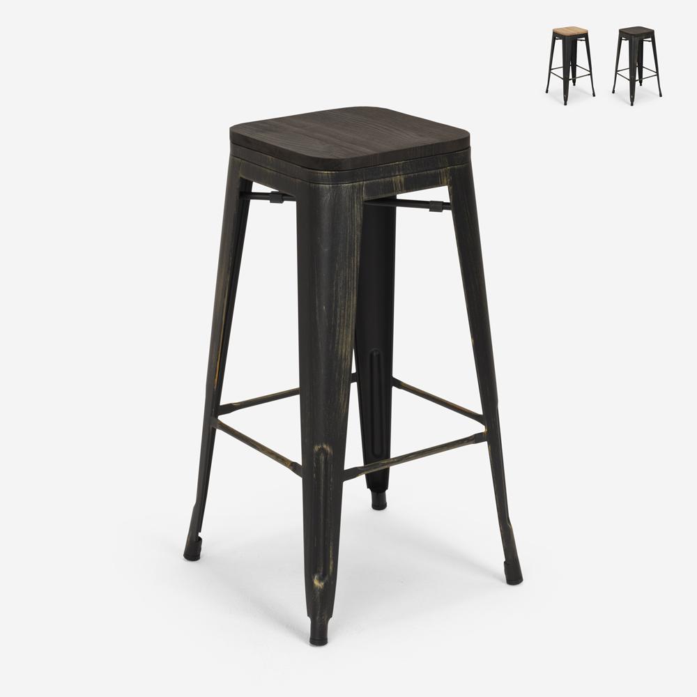 Design kruk van metaal en hout industriële stijl tolix bar keukens BRUSH UP