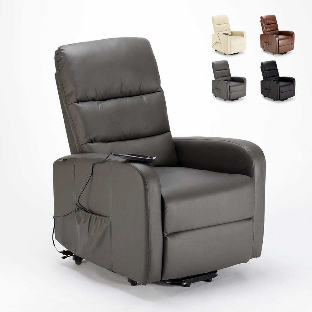 Elektrisch verstelbare sta-op relaxstoel van kunstleer met wielen Elizabeth II