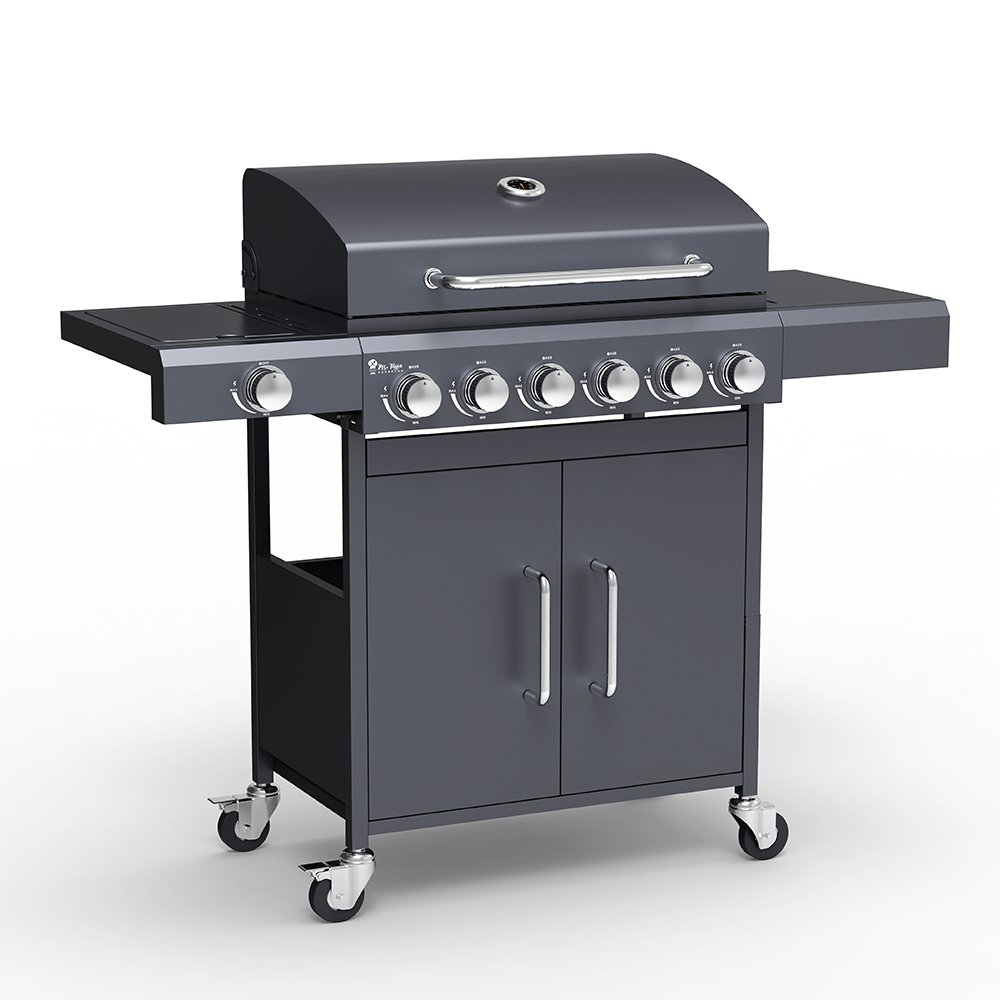Gasbarbecue met RVS BBQ spoelbak 6 + 1 pits roosters Creola
