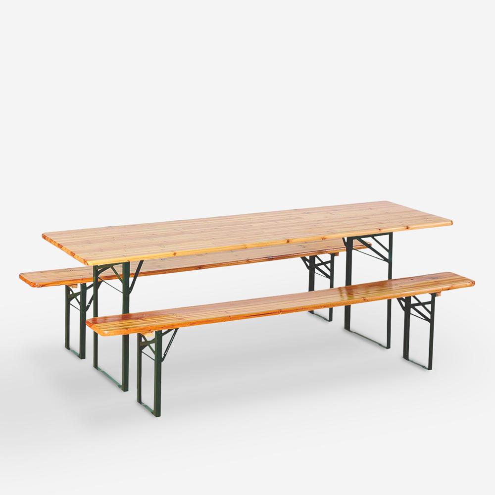Voorraad set brouwerij 8-delige tafels houten opklapbare banken 220x80 Oletan