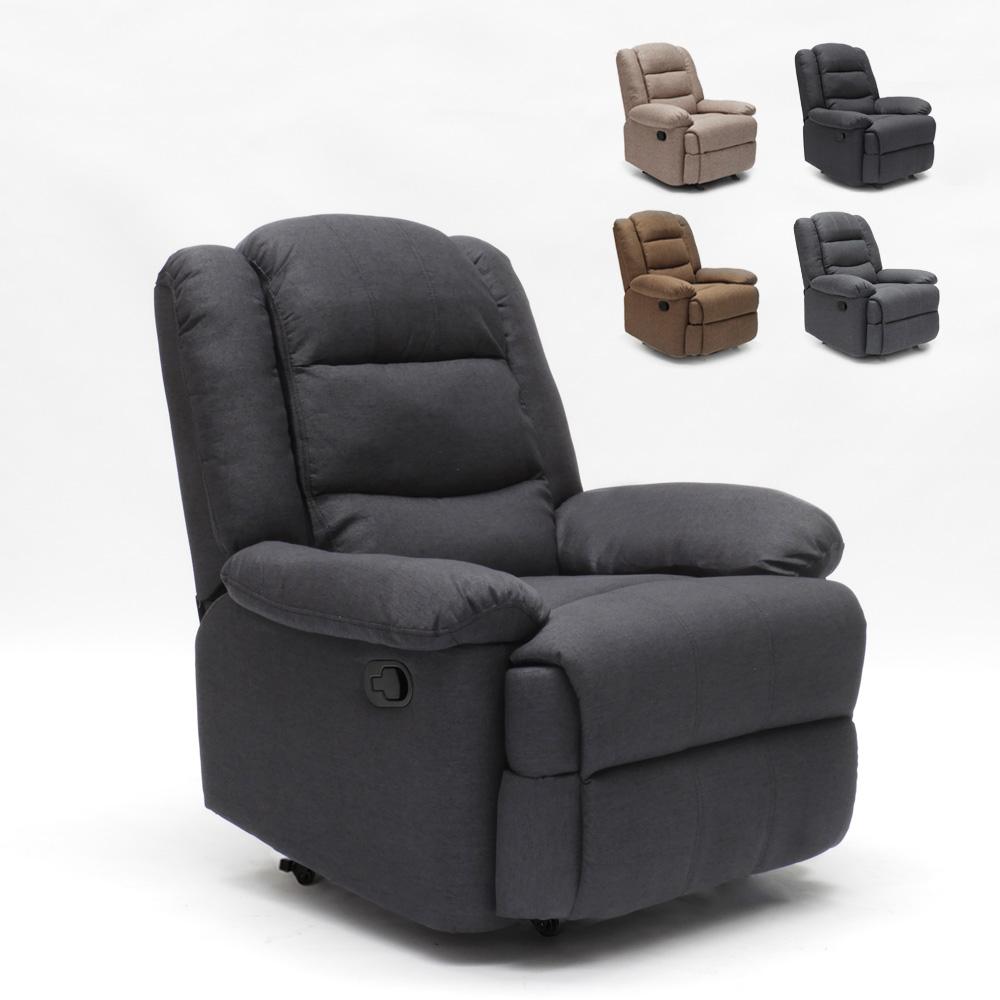 Relax fauteuil in stoffen ontwerp verstelbare voetensteun 4 wielen Maura