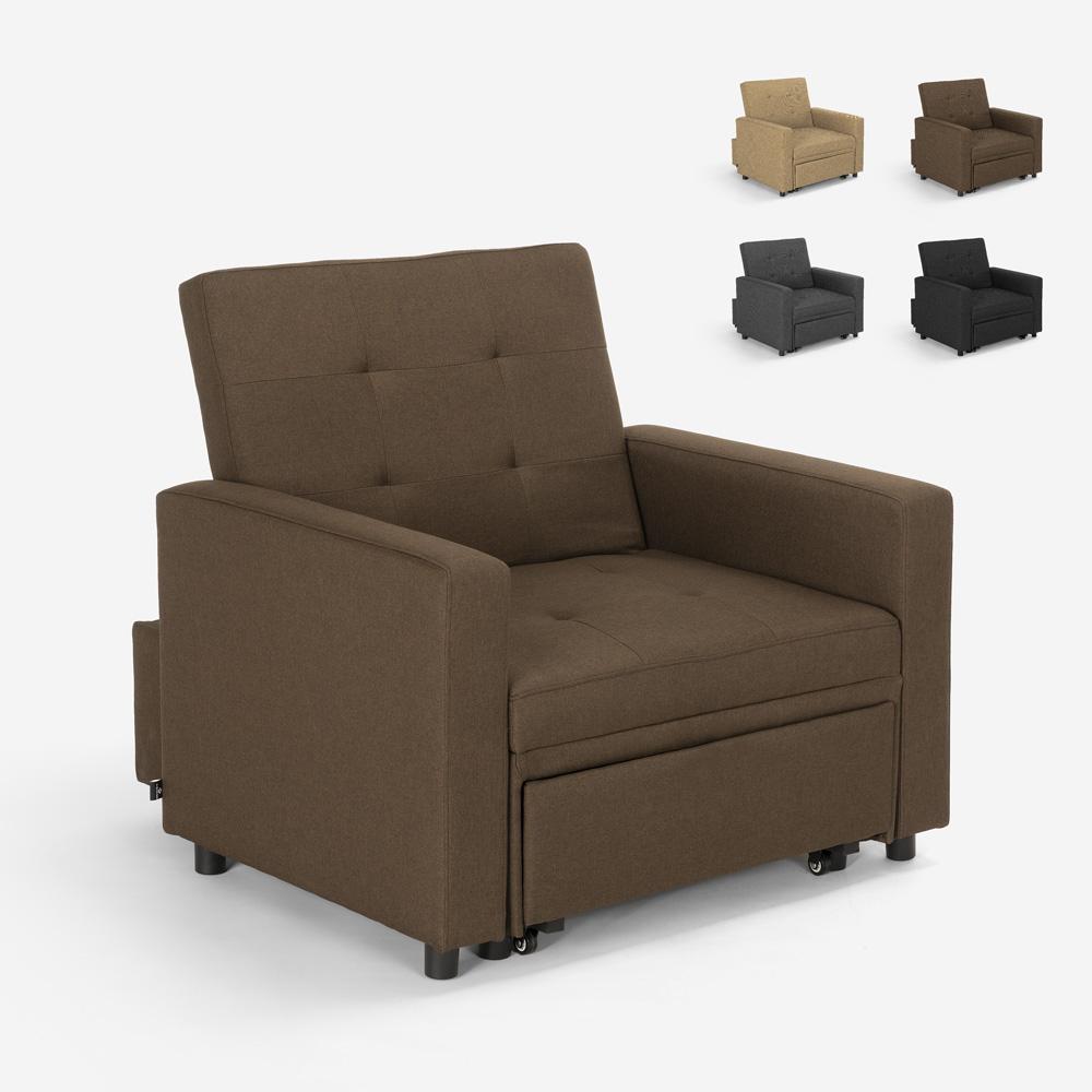 Eenpersoons fauteuil bed met armleuningen modern design ruimtebespaarder BROOKE