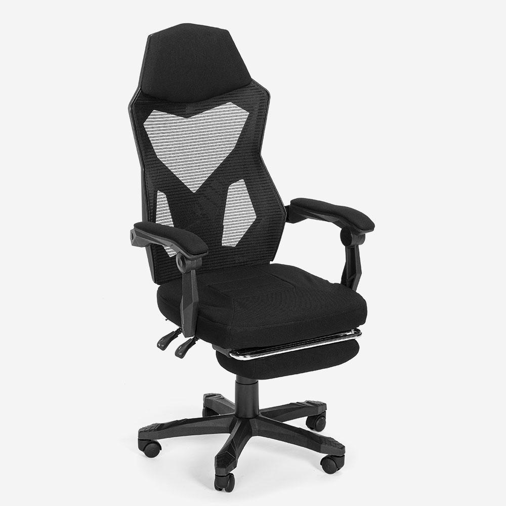 ergonomisch Gaming stoel futuristisch ontwerp ademende rugleuning met voetsteun Gordian Plus Dark