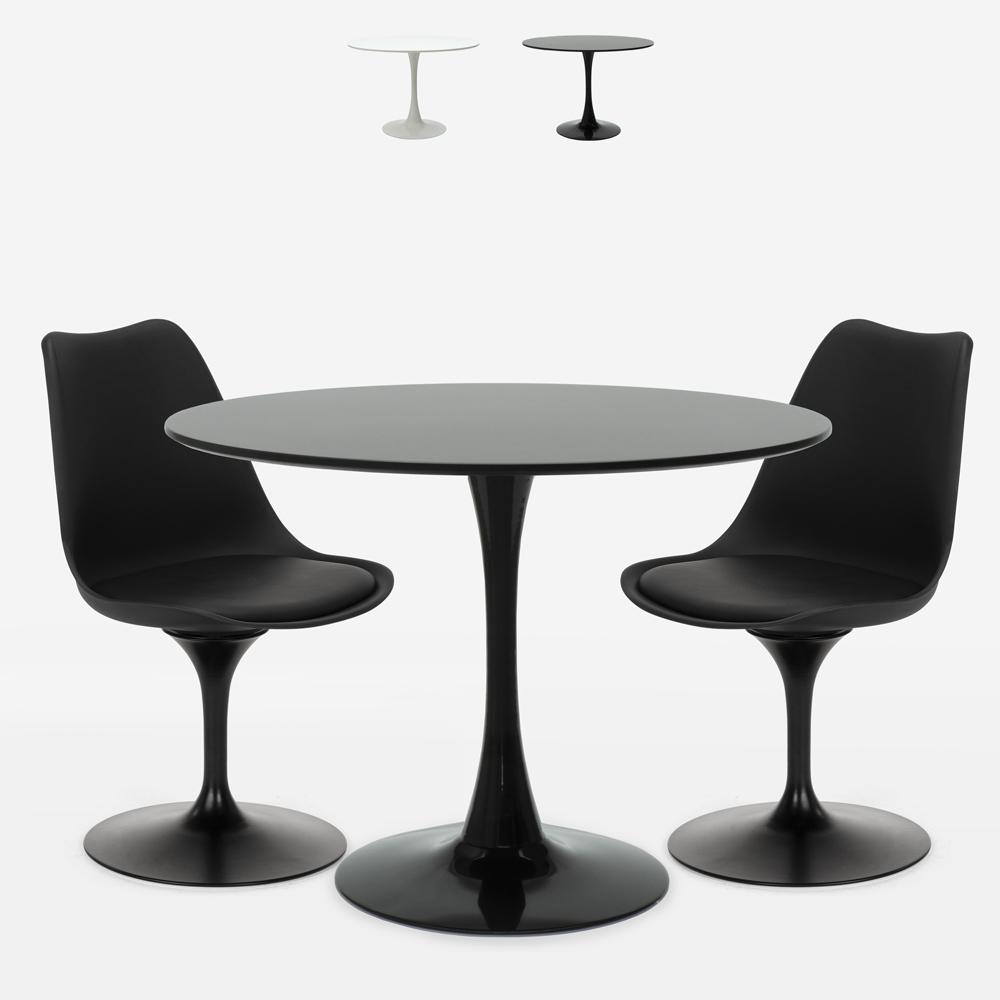 Ronde tafelset 80cm 2 stoelen design Tulip moderne Scandinavische stijl Aster