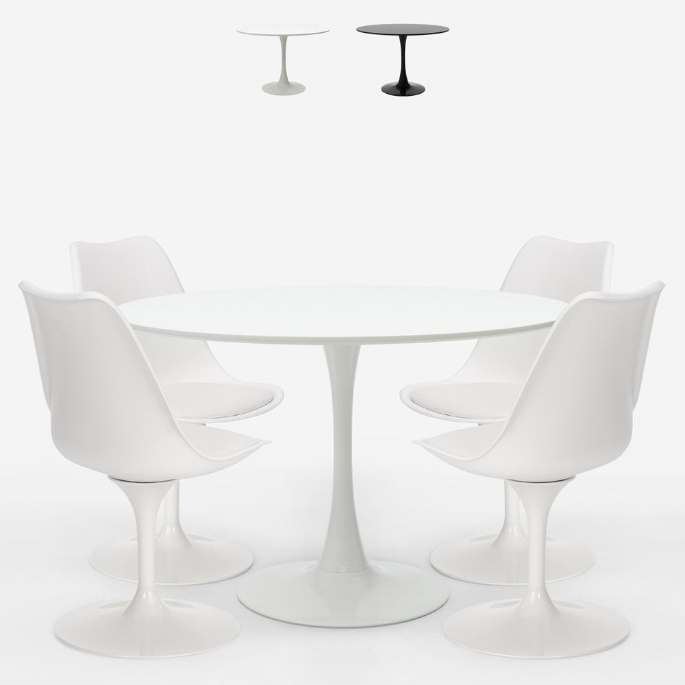 Ronde tafelset 120cm 4 moderne Tulp stoelen in Scandinavische stijl Margot