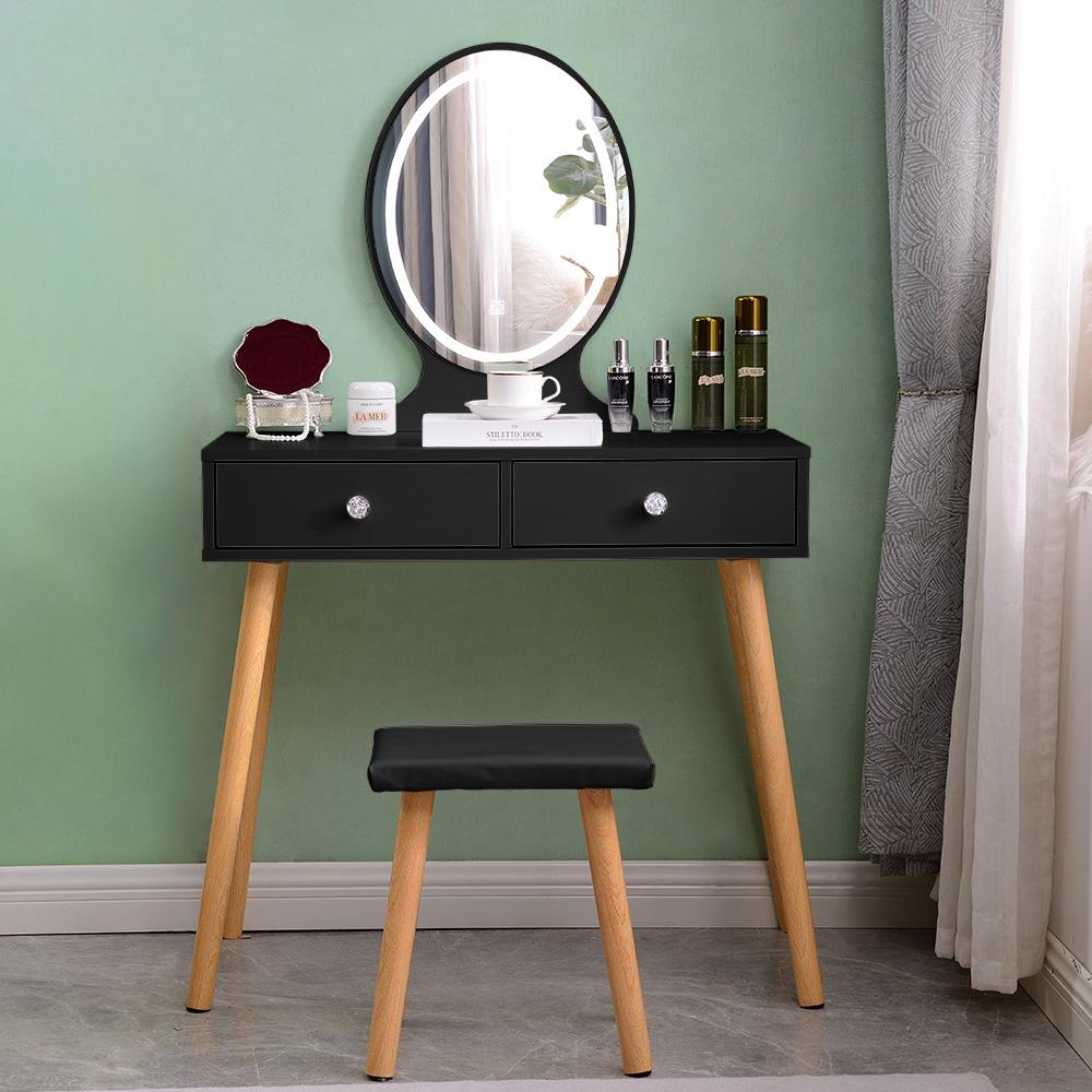 Scandinavische zwarte make-up station lades LED spiegel Serena Black